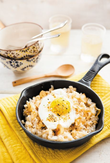 Japanese Egg Fried Frice with garlic Fiona Uyema Fused healthy recipe