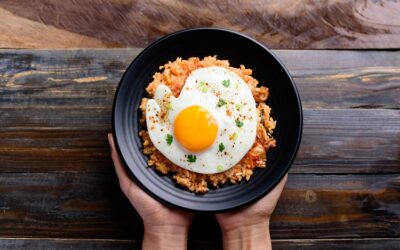 Kimchi fried rice topped with a fried egg