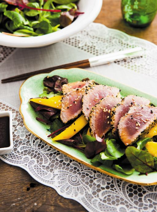 Tuna and mango tataki Japanese salad Japanese cooking recipe Fiona Uyema Fused
