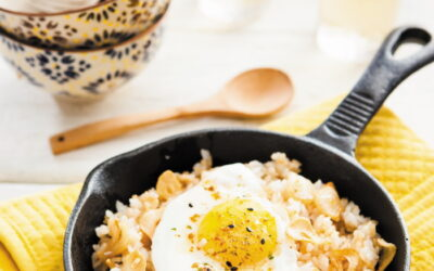 Garlic fried rice topped with a fried egg