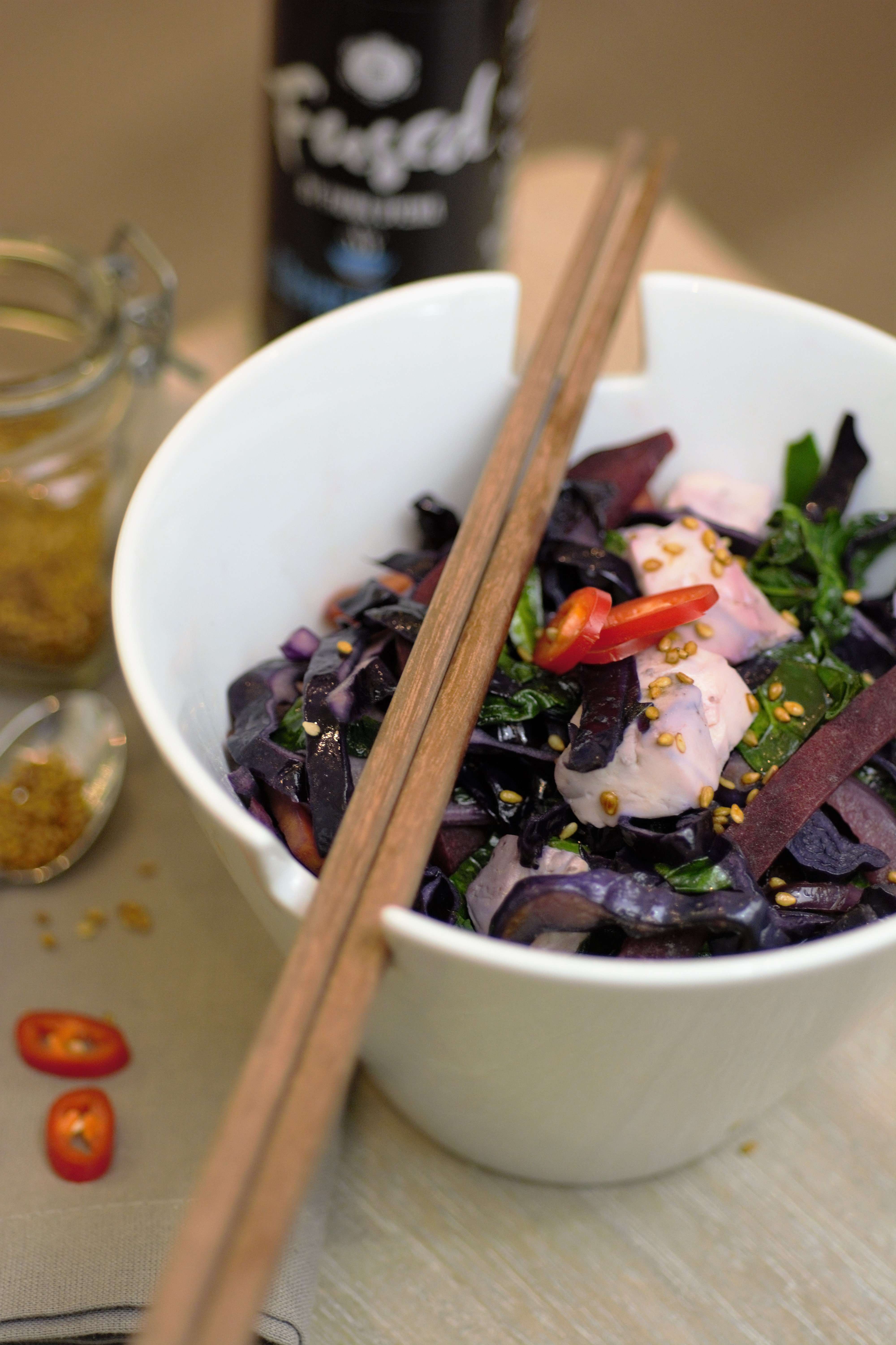 Japanese Style Tofu & Mixed Purple Veg Stir-Fry