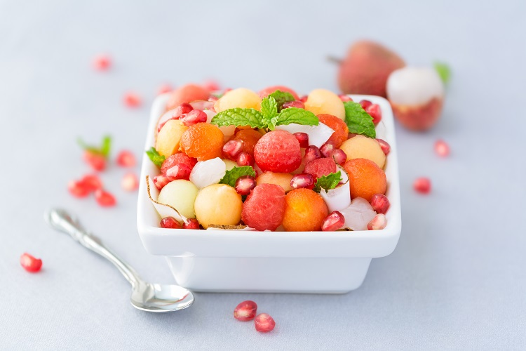 Melon Fruit Salad With Ginger & Pomegranate Fused by Fiona Uyema