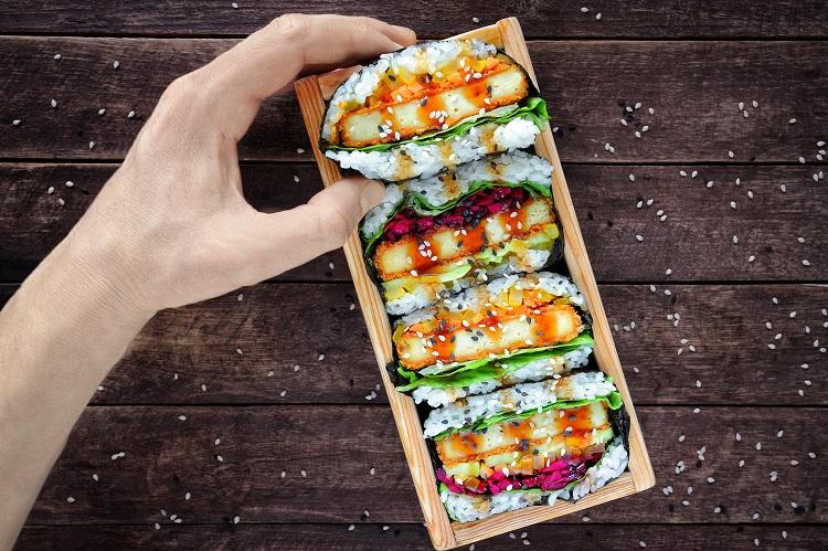 Tofu Katsu Onigirazu Fused by Fiona Uyema