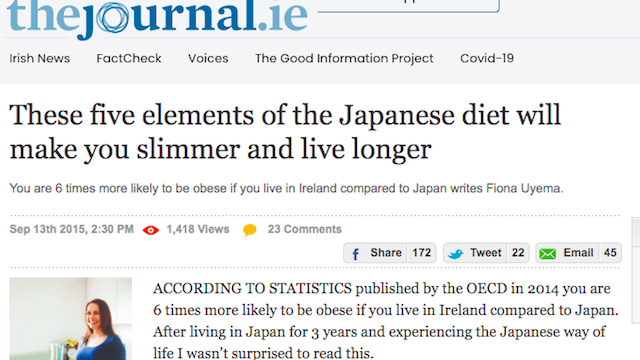 Fiona Uyema's Guest Article On TheJournal.ie – How A Japanese Diet Can Make You Live Longer