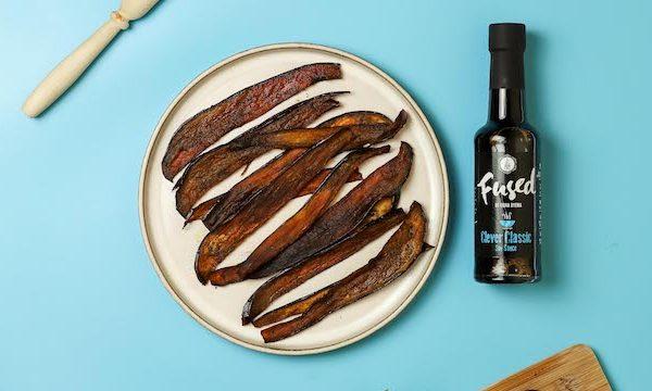 Aubergine Vegan Bacon Fused by Fiona Uyema